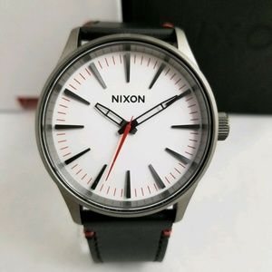 Nixon Sentry 38mm Leather Black White Watch